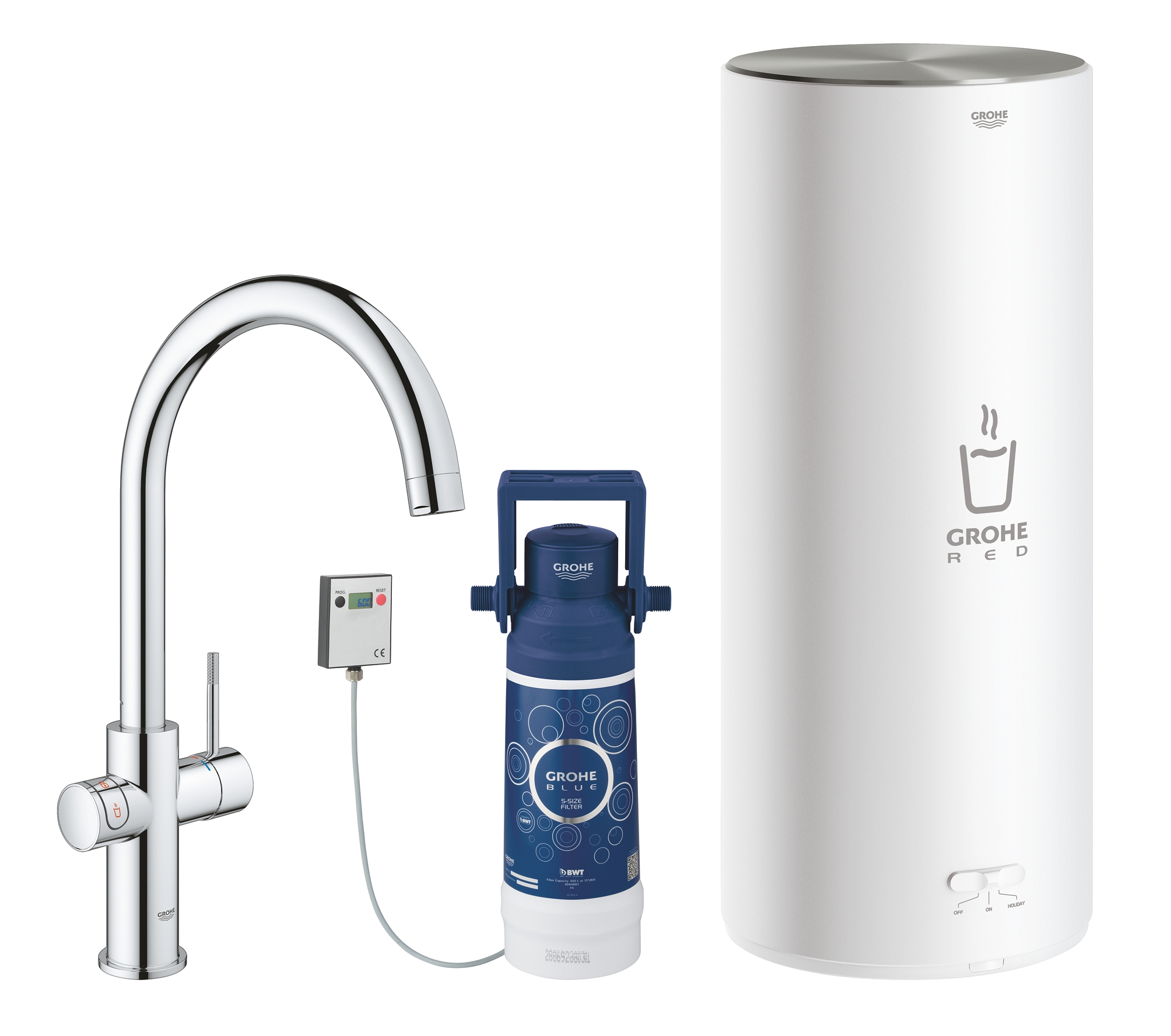 Комплект со смесителем для кухни GROHE Red Duo New, бойлер L-size, хром (30079001) фото