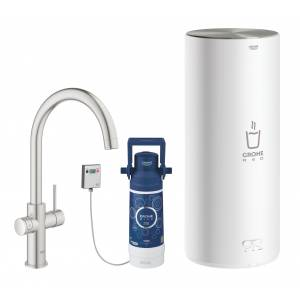 Комплект со смесителем для кухни GROHE Red Duo New, бойлер L-size, суперсталь (30079DC1)