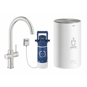 Комплект со смесителем для кухни GROHE Red Duo New, бойлер M-size, суперсталь (30083DC1)